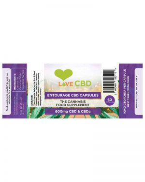 Love CB entourage capsules 600mg label